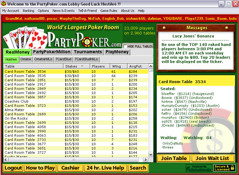 Image of Party Poker's Online Poker Lobby