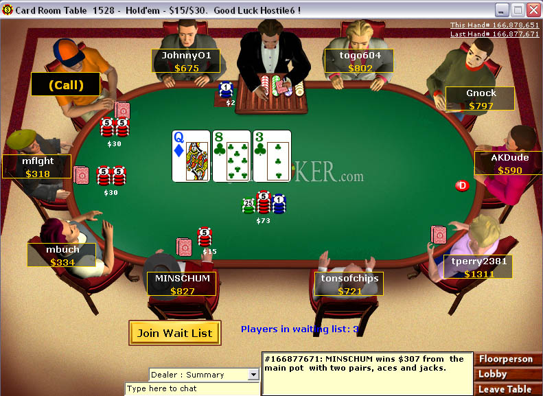 Image of Party Poker's Online Poker Table
